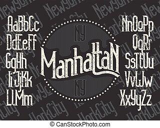 Manhattan font set - Manhattan - modern thin line font. New...