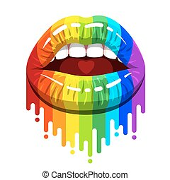 open woman mouth with color lips and paint flows - open...