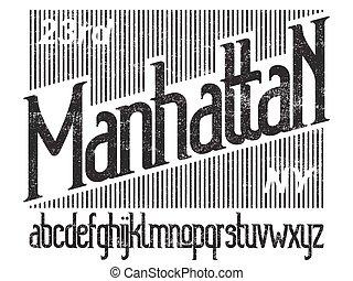 Manhattan font set - Manhattan - modern thin line font....