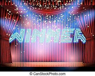 Winner lettering stage - Winner neon lettering live stage on...