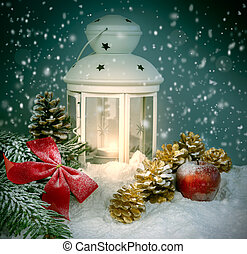 Christmas night - Christmas decoration with lantern and...