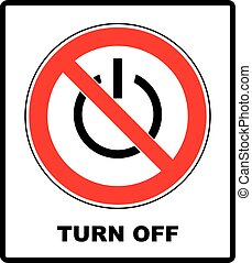 Power symbol and prohibition sign. Black out, no...