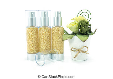 Moisturizing serum for face and body care concept : bottles...