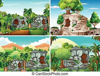Scene with stone houses in jungle