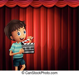Happy boy holding clapboard illustration