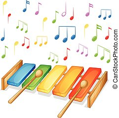 Xylophone with music notes background illustration