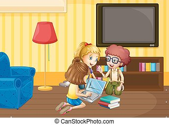 Three kids working in group at home illustration