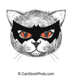 Cute cat illustration - Beautiful vector image of smart and...