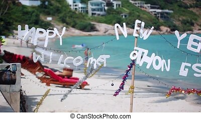 Merry Christmas text from the tropical beach. 1920x1080 -...