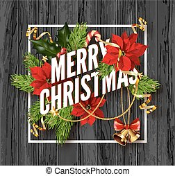 Merry Christmas greeting card template. Design for your...