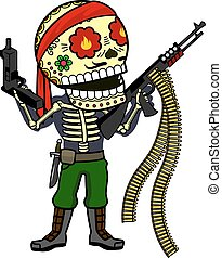Vector illustration of skeletons - Commandos in the jungle...