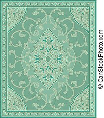 Turquoise template for carpet. - Oriental abstract ornament....