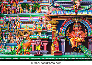 Chennai, India. Close view of religious figures of famous...