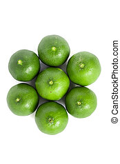 Green lemons isolated background - Lemons with isolated on...