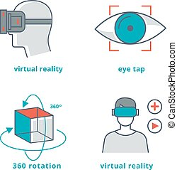 Virtual reality signs set for 3D games and 360 panorama...