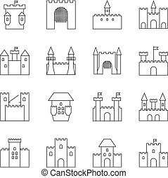 Historical ancient castle linear icons. Citadel and chateau...