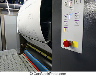 offset printing press draws in a plate - offset printing...