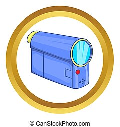 Camcorder icon in golden circle, cartoon style isolated on...