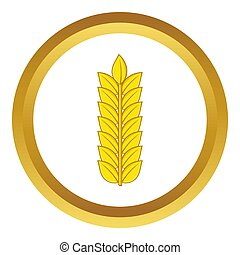 Ear of wheat icon in golden circle, cartoon style isolated...