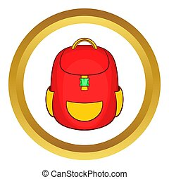 Red backpack icon in golden circle, cartoon style isolated...