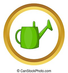 Watering can for garden icon in golden circle, cartoon style...