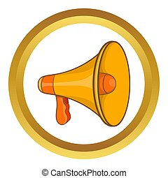 Mouthpiece icon in golden circle, cartoon style isolated on...