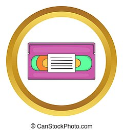 Video cassette icon in golden circle, cartoon style isolated...