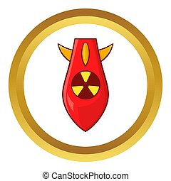Nuclear warhead icon in golden circle, cartoon style...