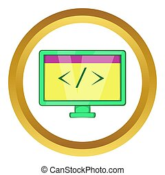 Monitor with sign left right icon in golden circle, cartoon...