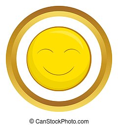 Smiley face icon in golden circle, cartoon style isolated on...