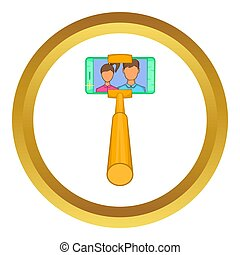 Smartphone photographs on selfie stick  icon