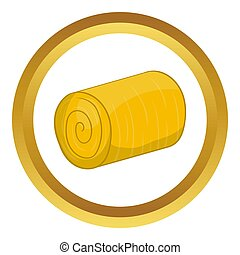 Haystack icon in golden circle, cartoon style isolated on...
