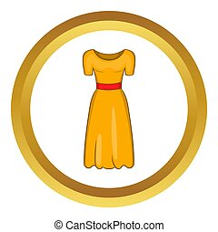 Womens fancy dress icon in golden circle, cartoon style...
