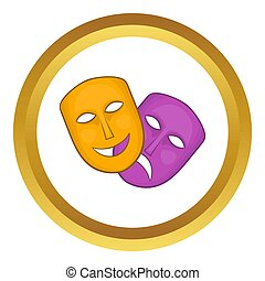 Comedy and tragedy theatrical masks icon in golden circle,...