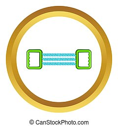 Spring expander icon in golden circle, cartoon style...