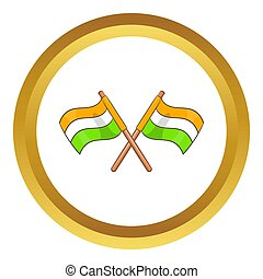 Two crossed flags of India  icon