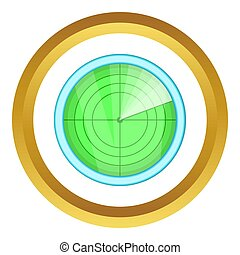 Radar icon in golden circle, cartoon style isolated on white...