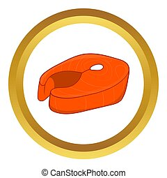 Fish fillet icon in golden circle, cartoon style isolated on...