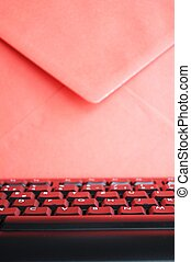 email concept with envelop and keyboard showing modern...