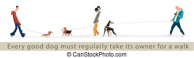 Dogs and owners for a walk