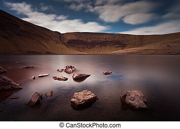Llyn y Fan Fach Lake - Part of the Brecon Beacons in South...