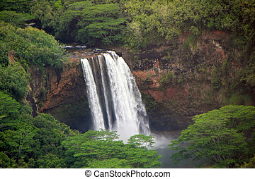 Waterfall - aerial view majestic waterfall Kauai Hawaii...