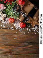 Christmas decorations on boards