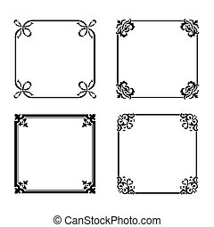 Vector decorative square ornate design elements & calligraphic page decorations