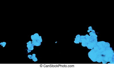 blue ink drop in water on a black background for effects. 3d render. voxel graphics. computer simulation.