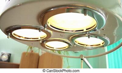 Operating light closeup - Close of an illuminated operating...