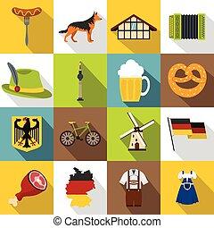 Germany icons set, flat style - Germany icons set. Flat...