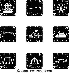 Entertainment for children icons set, grunge style -...
