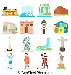Argentina travel icons set, cartoon style - Argentina travel...