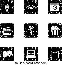 Cinematography icons set, grunge style